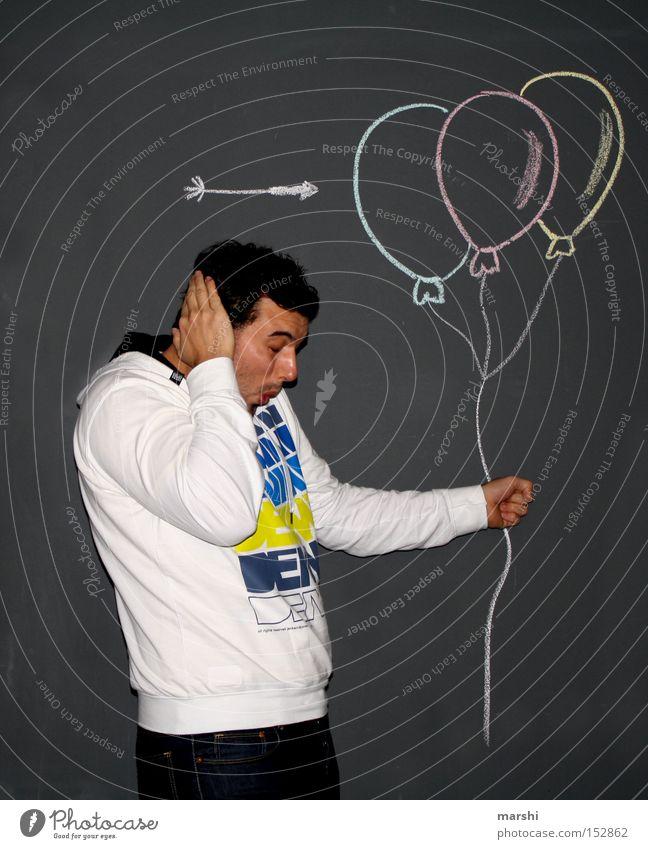 :::Päääääng::: schön Freude Luft lustig Feste & Feiern Jubiläum Geburtstag Luftballon Ohr Spielzeug Pfeil blasen Kreide mehrfarbig Überraschung Einladung