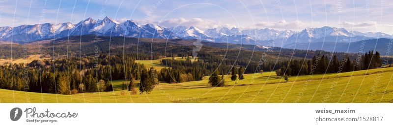 Panorama von schneebedeckten Tatra-Bergen im Frühjahr, Süd-Polen Ferien & Urlaub & Reisen Tourismus Ausflug Freiheit Schnee Berge u. Gebirge wandern Natur