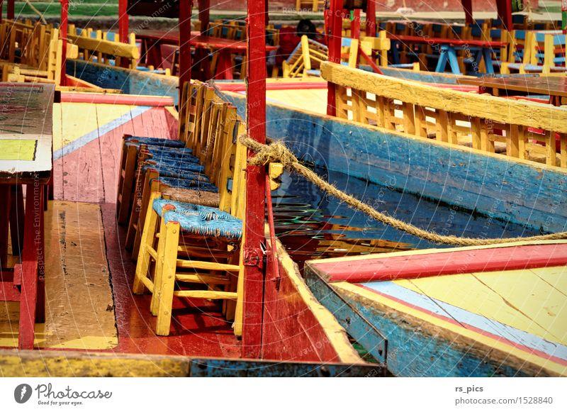 Colours of México Ferien & Urlaub & Reisen blau Sommer rot Freude gelb Holz Stimmung Fröhlichkeit verrückt Kultur Zeichen Sehenswürdigkeit exotisch Bootsfahrt