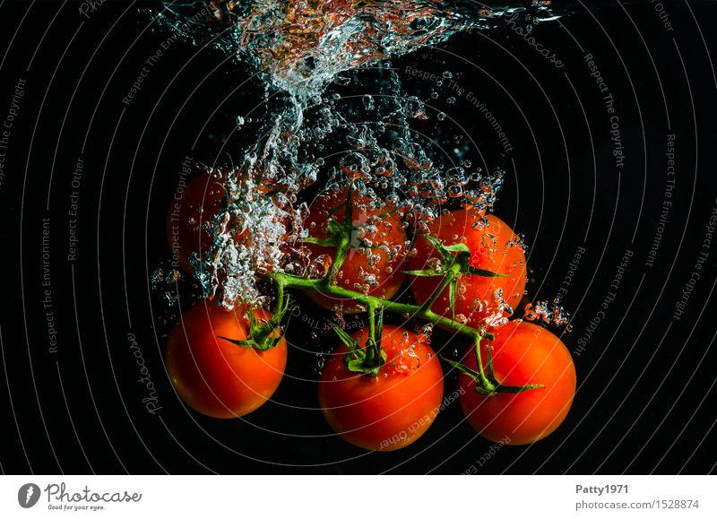 Tomaten Gemüse Bioprodukte Vegetarische Ernährung Diät Trinkwasser Gesunde Ernährung frisch Gesundheit lecker nass natürlich grün rot genießen Wasser platschen
