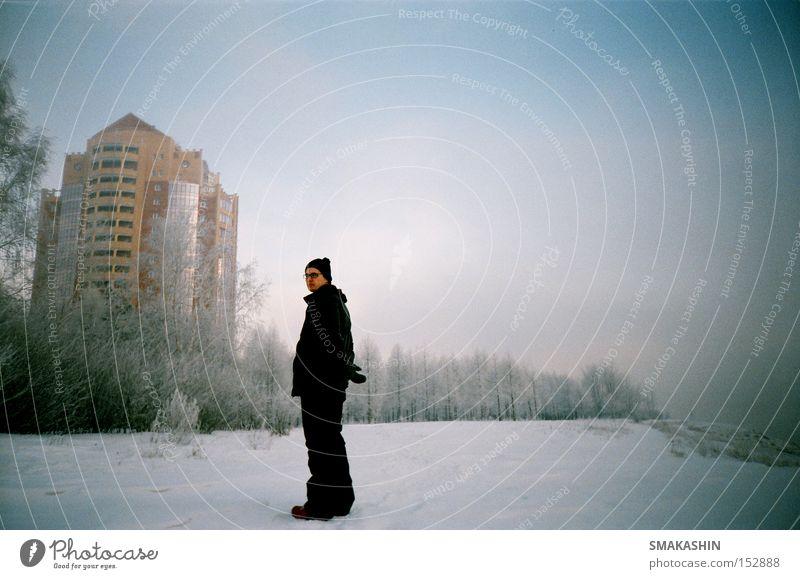 Haus als Hintergrund Frost Eis Schnee Wohnung Sibirien Winter 135mm Film Frage ein Wald kalt ein Haus die Zukunft Russland wo die Sonne