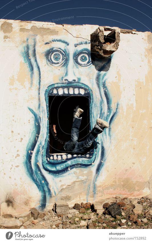 Mundraub Fenster Graffiti Angst Ernährung verfallen Fressen Mahlzeit Festessen Straßenkunst Panik Imbiss Wandmalereien