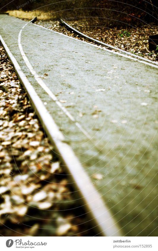 Usertreffen Herbst Gleise verfallen Richtung Bahnhof Kurve Verschiedenheit trendy Weiche abbiegen Rangierbahnhof