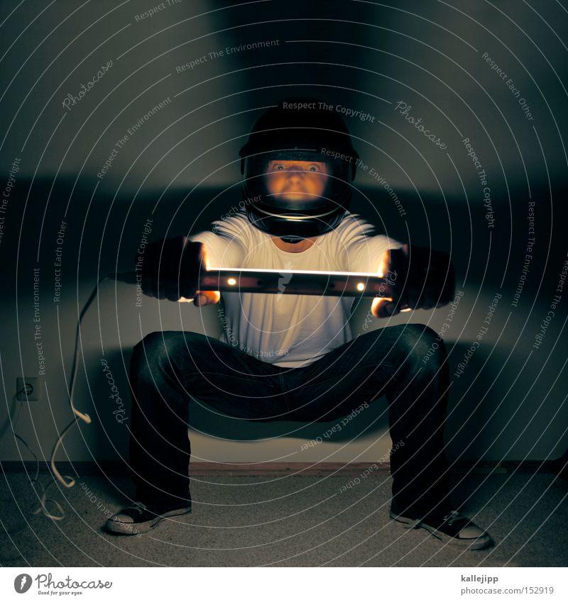 riders on the strom Mann Mensch Motorrad Licht Geschwindigkeit führen Verkehrsmittel Raum Elektrizität elektronisch Helm Elektrisches Gerät
