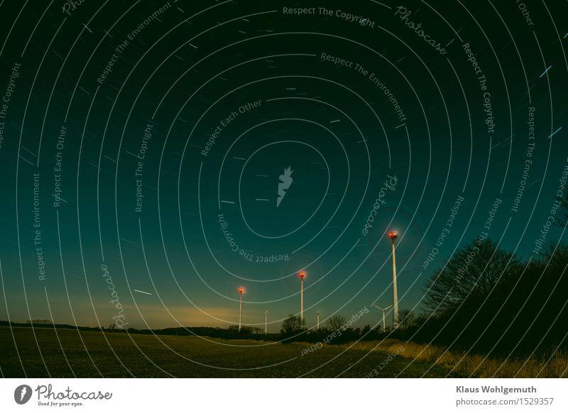 Die alte Landwehr Energiewirtschaft Erneuerbare Energie Windkraftanlage Natur Landschaft Himmel Wolkenloser Himmel Nachthimmel Stern Horizont Herbst Winter Baum