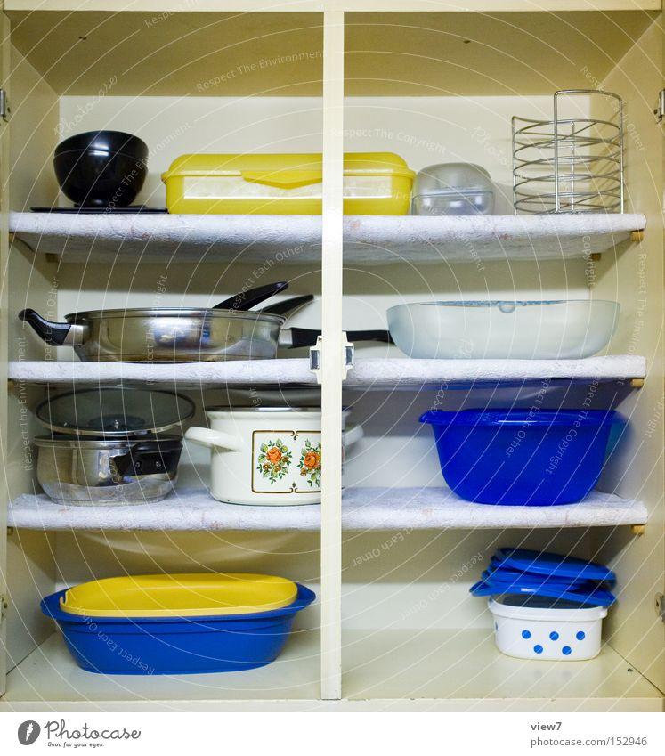 Küchenschrank blau gelb Kochen & Garen & Backen Gastronomie Dinge Möbel Kunststoff Teller Schalen & Schüsseln Topf Haushalt Schrank Regal Konzepte & Themen