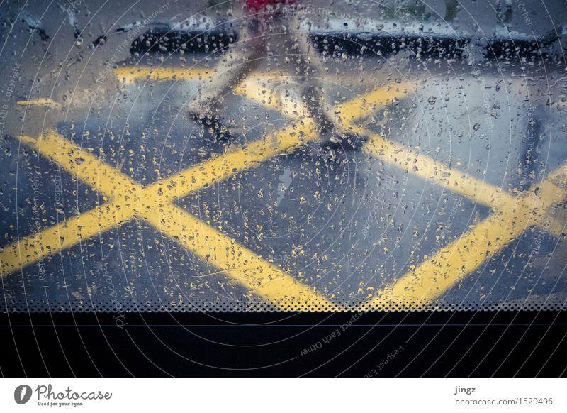 Regenwanderer Mensch Stadt blau Farbe kalt gelb Straße Autofenster Bewegung Beine Linie gehen leuchten elegant laufen