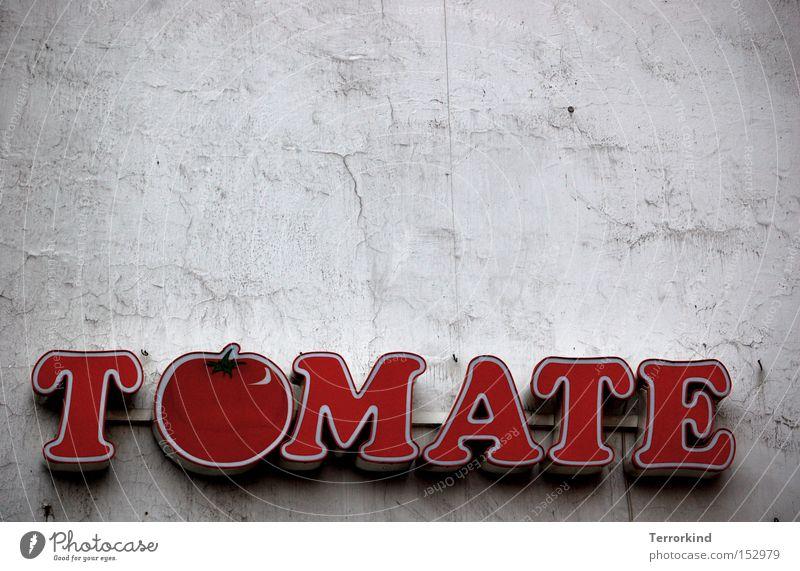 [HL08] Komm. Tom. rot Freude Ernährung Schilder & Markierungen Gastronomie Gemüse lecker Tomate satt Vegetarische Ernährung belegen