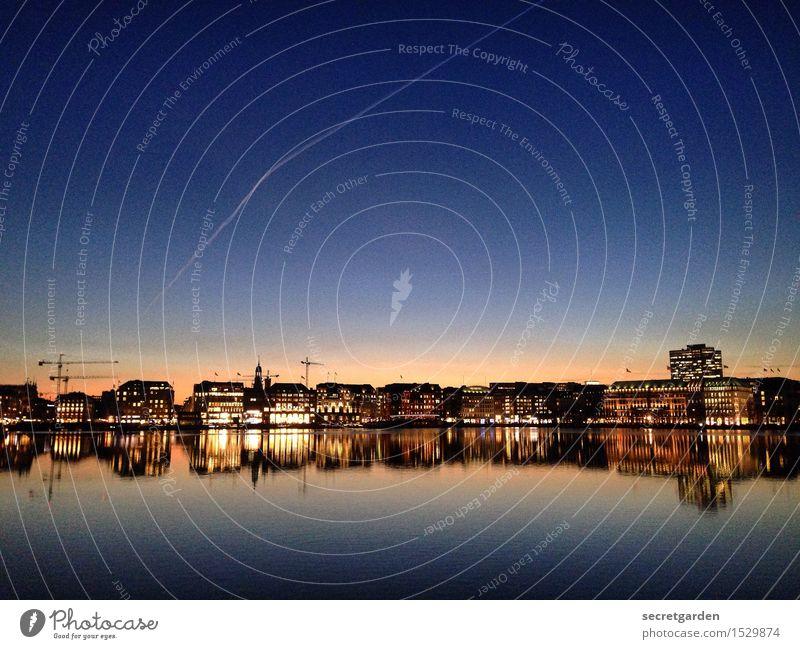 hamburg, my love. Himmel Stadt blau Winter gelb Architektur Gefühle Gebäude See Horizont glänzend leuchten genießen Schönes Wetter Hamburg Streifen