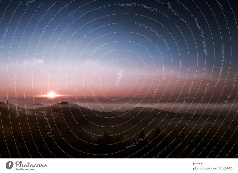 Untergangsstimmung Himmel Sonne ruhig Wolken Berge u. Gebirge Stimmung Nebel Horizont Ende Tal Himmelskörper & Weltall