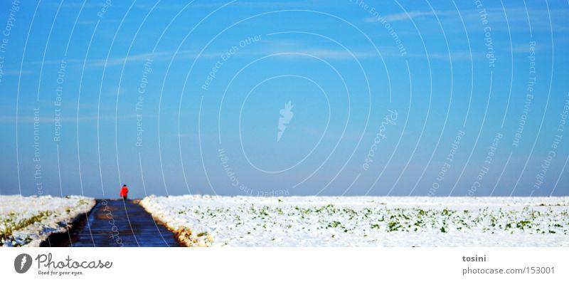 weites Feld [4] Winter Landschaft Mensch Schnee Spaziergang Himmel Wolken Ferne Horizont weiß blau minimalistisch