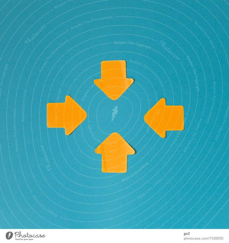 Richtungsweisend blau gelb sprechen Zusammensein Zufriedenheit Schilder & Markierungen Kommunizieren einfach Zeichen Schutz Sicherheit Netzwerk Ziel Team