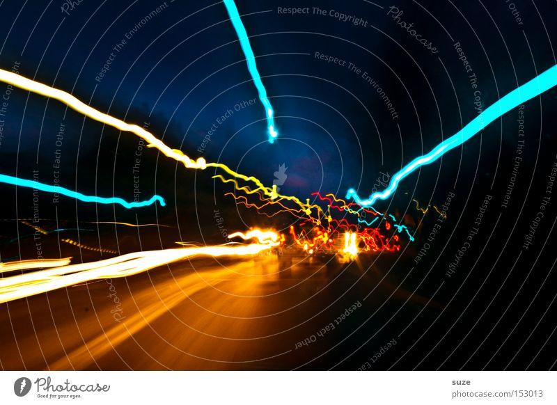 Turbo-Bust dunkel gelb Straße Linie leuchten Verkehr Geschwindigkeit Elektrizität fahren türkis Verkehrswege Strahlung chaotisch Dynamik Autobahn Autofahren