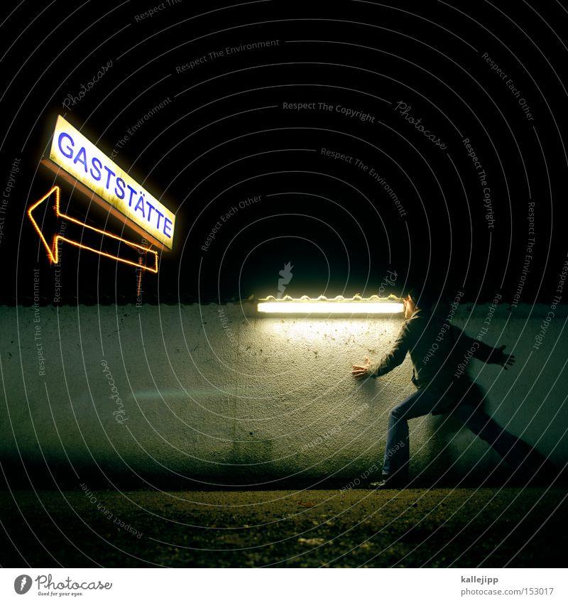 festessen Mann Mensch Gast Kunde Gastronomie Hotel Restaurant Leuchtreklame Ernährung Pfeil Symbole & Metaphern Schilder & Markierungen