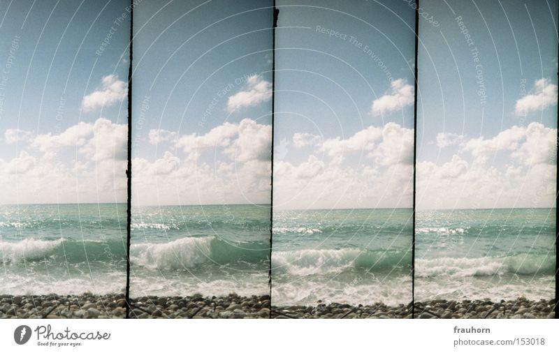 zeit vergehen sehen Meer Strand Kraft Wellen Zeit Teile u. Stücke Kieselsteine Gezeiten einheitlich Strömung Sog Zyklus Kontinuität