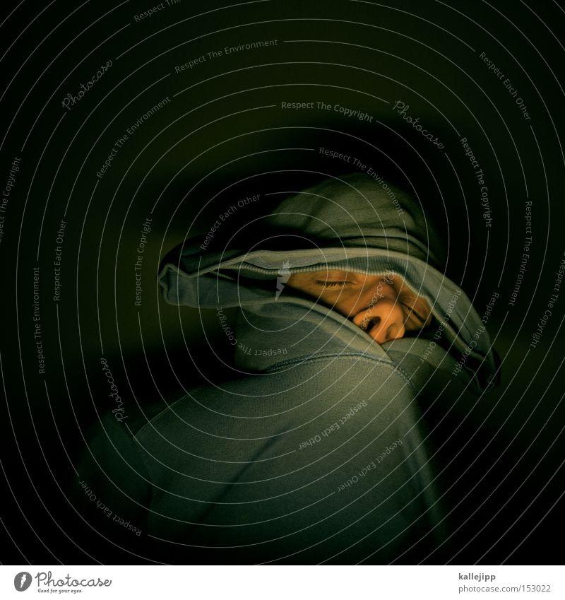 katerstimmung Mensch Mann Jugendliche dunkel Nase schlafen Ohr Maske Müdigkeit Alkoholisiert frieren Kapuze Leiche Junger Mann Schnapsleiche