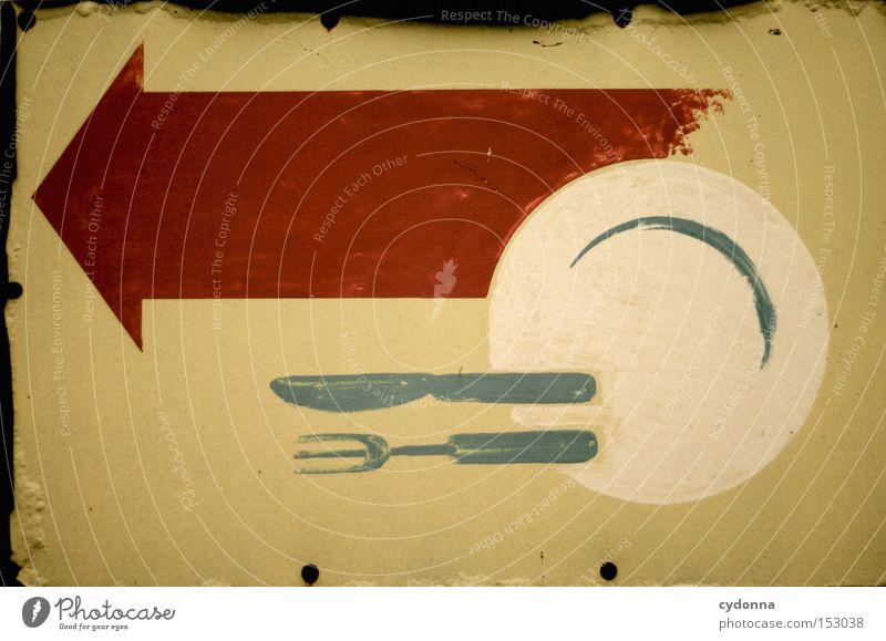 Neujahrsbrunch Ernährung Schilder & Markierungen Kommunizieren Pfeil Zeichen Richtung Hinweisschild Symbole & Metaphern Teller Wegweiser Besteck Hinweis Verständnis Geschirr System begreifen