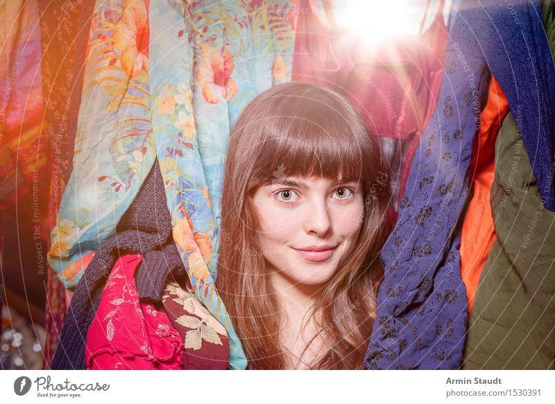 Neulich im Kleiderschrank XIX Mensch Frau Jugendliche schön Junge Frau Erwachsene Gefühle Beleuchtung feminin Stil Lifestyle Glück Haare & Frisuren Mode Design