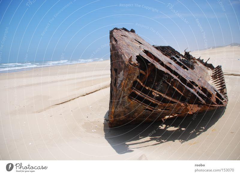 Meer Strand Sand Wasserfahrzeug Wellen Küste verfallen Stiefel Kap Schiffbruch einsiedlerisch