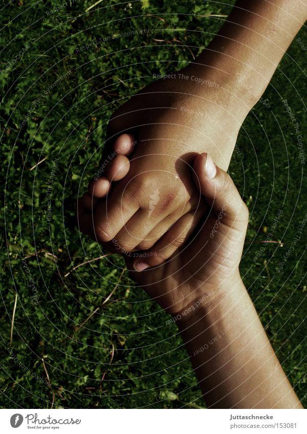 größer als Hand festhalten Hände schütteln Hand in Hand Finger Kommunizieren Vertrauen Kind zusammen Freundschaft Juttaschnecke