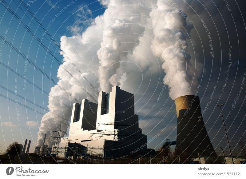 Kohlekraftwerk Neurath Block F u. G Industrie Energiewirtschaft Wolken Schönes Wetter Industrieanlage Kühlturm Rauchen authentisch bedrohlich gigantisch