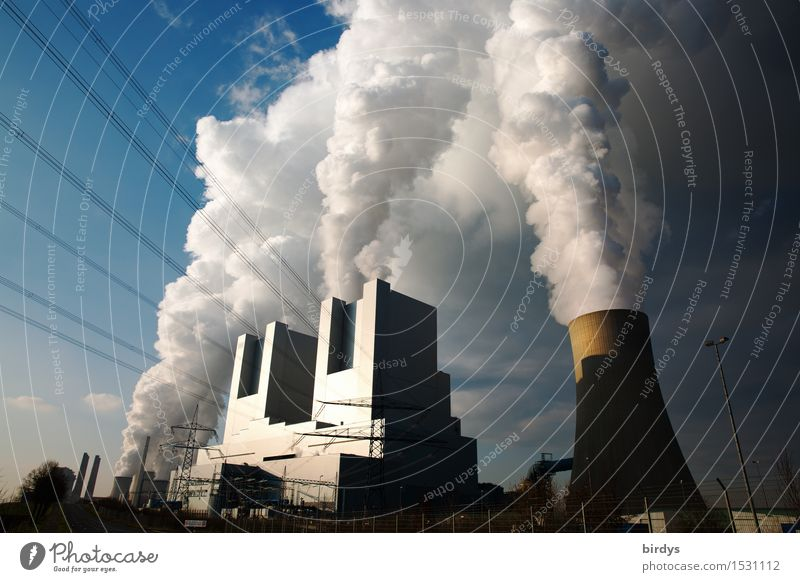Kohlekraftwerk Neurath Block F u. G Wolken Energiewirtschaft authentisch ästhetisch bedrohlich Industrie Schönes Wetter Zukunftsangst Rauchen Tradition
