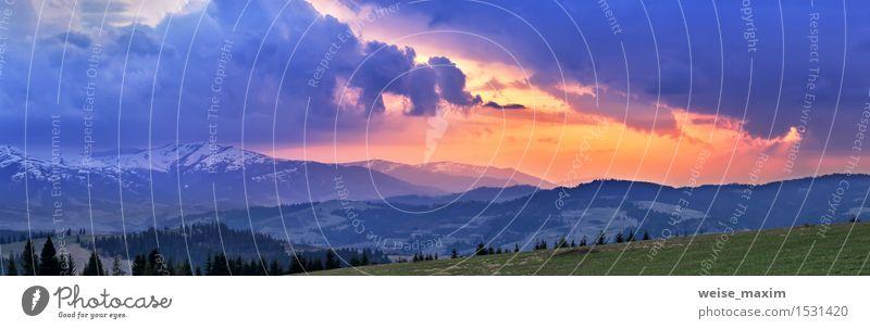 Sonniger Frühlingsabend. April Berg Sonnenuntergang schön Ferien & Urlaub & Reisen Sommer Schnee Berge u. Gebirge Natur Landschaft Pflanze Himmel Wolken Klima
