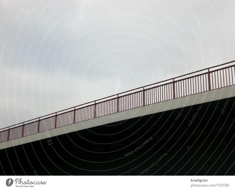 Bridge over troubled water Himmel Straße dunkel Linie hell Brücke verbinden Brückengeländer
