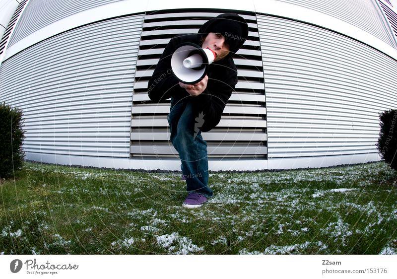 AUFGEWACHT!!!!! Mensch Mann grün Winter Wiese Architektur Stil Metall Kommunizieren Körperhaltung schreien Futurismus Kultur Kunst Megaphon
