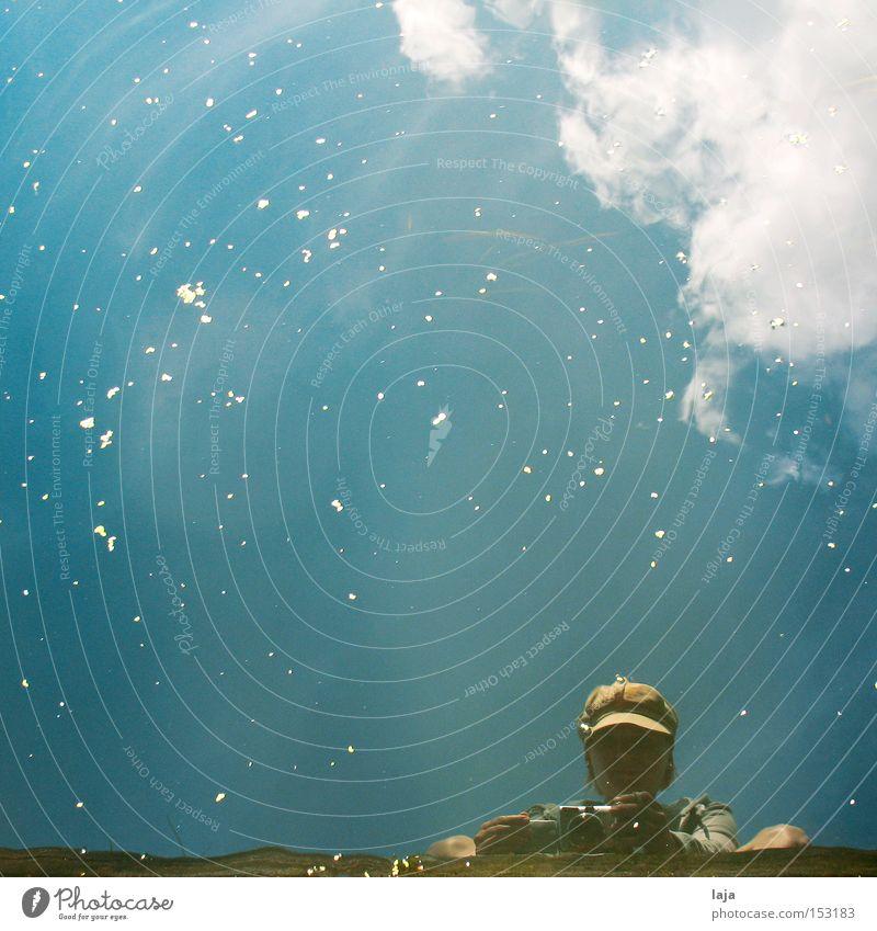 Wasserspiel II Mensch Mütze Fotokamera Hafen blau Schnee Blütenblatt Himmel Wolken Flussufer Reflexion & Spiegelung Sommer Bach Refexion Reflexion u. Spiegelung