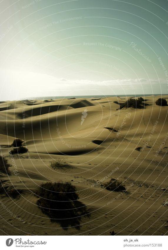 sandförmchen Himmel Strand Ferne Wärme Sand Küste Wüste Stranddüne Gran Canaria