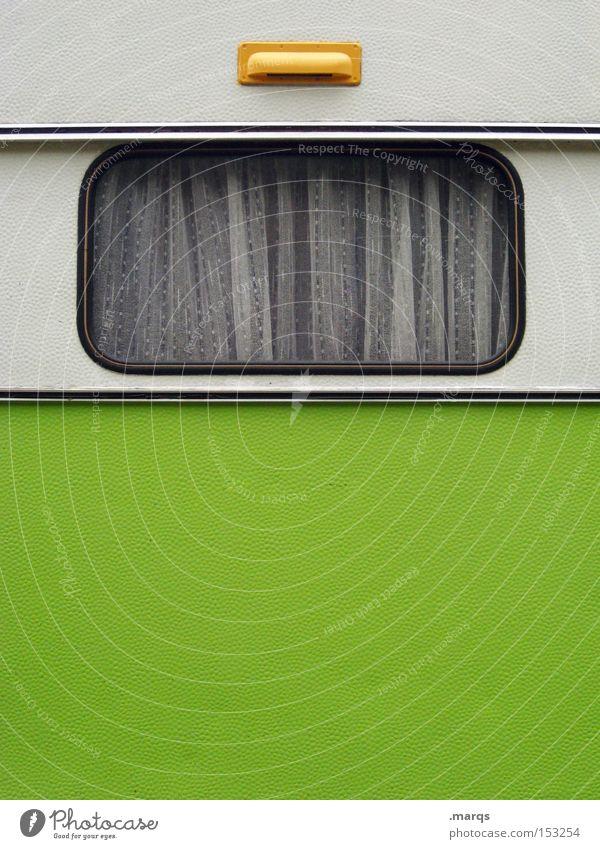 Einzimmerwohnung weiß grün Freude Ferien & Urlaub & Reisen Ferne Fenster Freiheit Glück Verkehr Ausflug retro fahren Tourismus authentisch Freizeit & Hobby