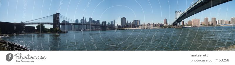 Brücken am Fluss Wasser Ferien & Urlaub & Reisen Stadt groß Brücke USA Fluss Amerika Skyline New York City Manhattan Panorama (Bildformat) Hudson River