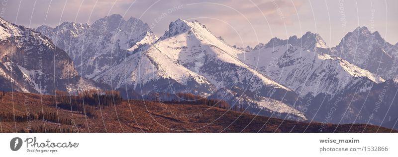 Panorama von schneebedeckten Tatra-Bergen im Frühjahr, Süd-Polen Himmel Ferien & Urlaub & Reisen blau weiß Baum Sonne Landschaft Wolken Wald Berge u. Gebirge