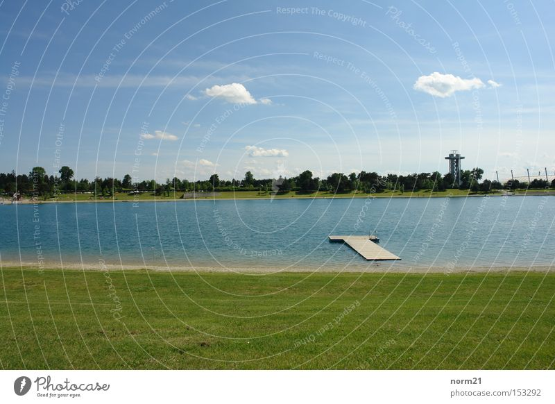 See Gras grün blau Steg Wasser Himmel Strand Turm Wiese
