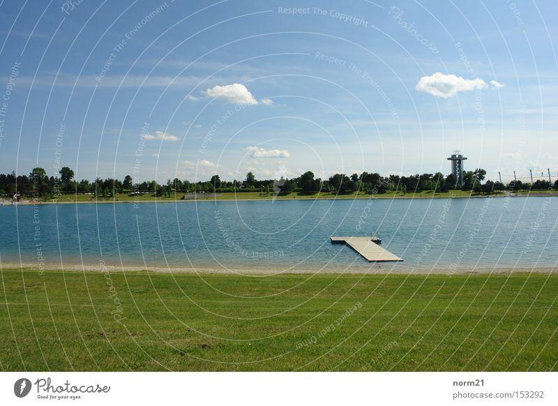 See Wasser Himmel grün blau Strand Wiese Gras See Turm Steg