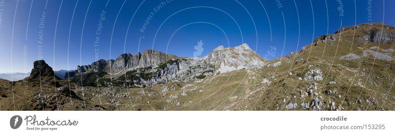 Rofan Ausblick Ferien & Urlaub & Reisen Schnee Herbst Wiese Berge u. Gebirge groß Horizont Felsen Klettern Alpen Gipfel Alpen Alpen Österreich Bergsteigen Panorama (Bildformat)