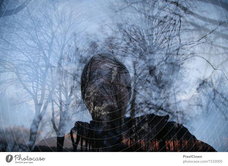 Selfie im Wald Mensch Natur Ferien & Urlaub & Reisen Pflanze blau Baum Erholung Landschaft Freude Erwachsene lustig Stil Design maskulin Tourismus