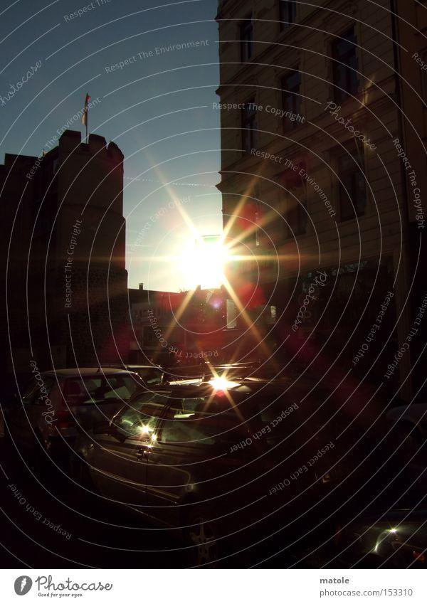 SONN-ABEND Himmel Sonne Herbst blenden unterwegs schimmern Blendenfleck Feierabend Himmelskörper & Weltall gleißend