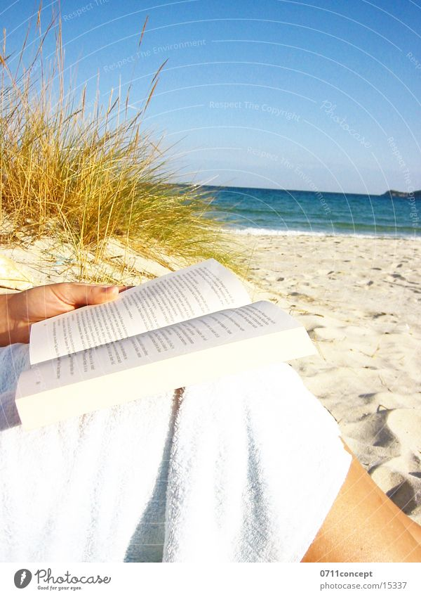 Lesen am Strand Wasser blau Hand Sonne Ferien & Urlaub & Reisen Meer Strand Erholung Sand Denken See Gesundheit Wellen Horizont Freizeit & Hobby Buch