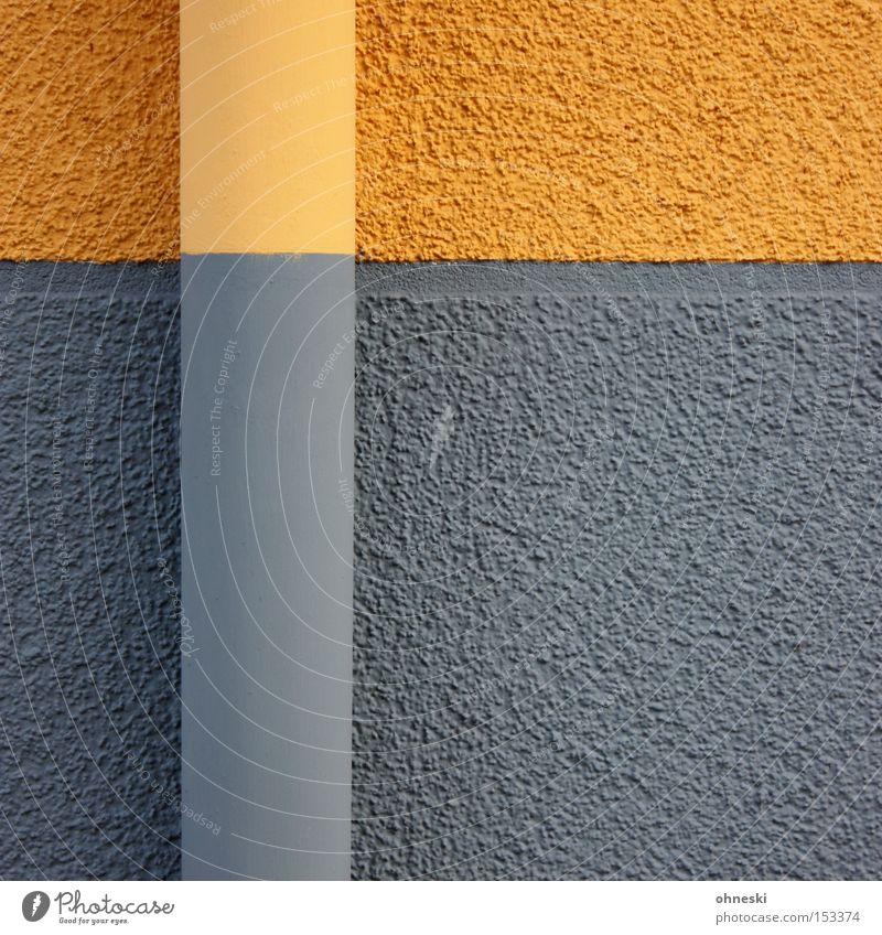 Regenfallrohr Röhren Wand Farbe Anstreicher streichen Anstrich grau gelb graphisch Linie horizontal vertikal Detailaufnahme Handwerk