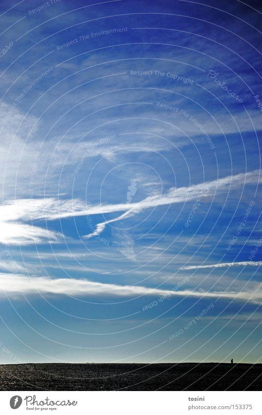 weites Feld [5] Himmel weiß blau Winter Wolken Einsamkeit Ferne Landschaft Horizont Spaziergang