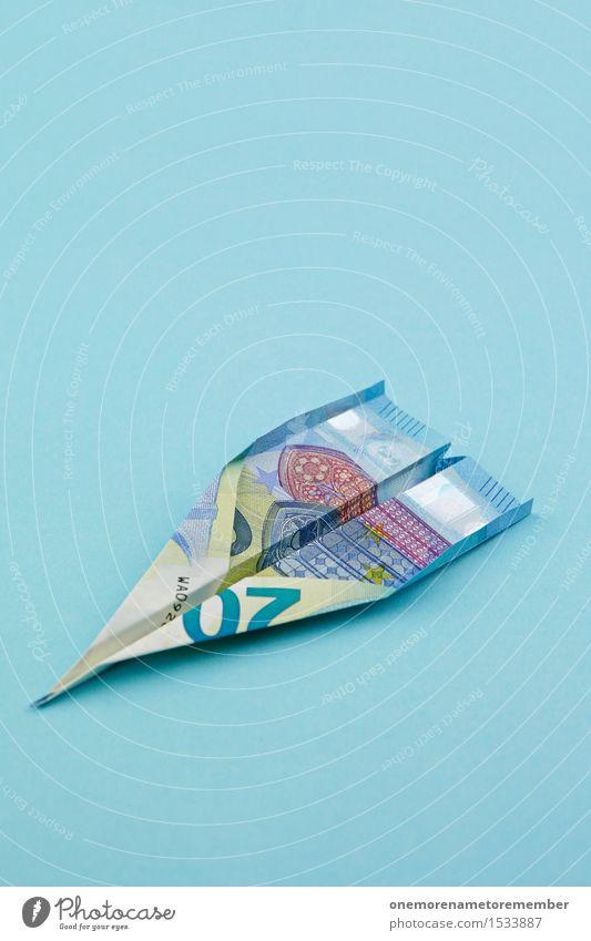 Euro-Flieger Nummer 20 blau Kunst ästhetisch Papier Flugzeug Geld Geldinstitut Geldscheine Kunstwerk Kapitalwirtschaft Eurozeichen Börse Kapitalismus