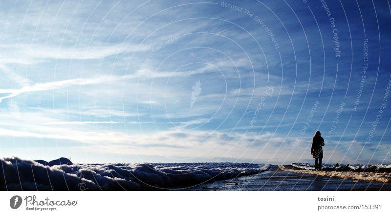 path of life Frau Mensch Himmel blau Winter Wolken Einsamkeit Ferne Schnee Wege & Pfade Feld Wetter Horizont Unendlichkeit Fußweg gerade