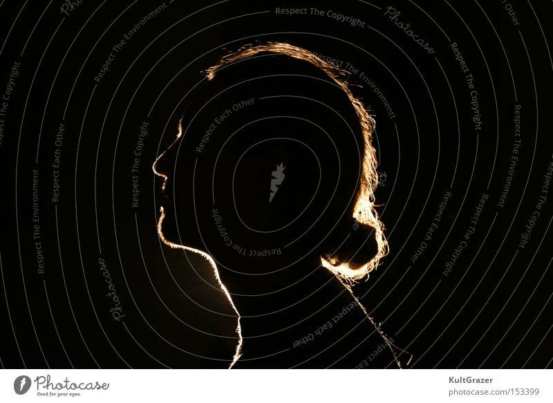 Kopflicht Schatten schwarz Licht dunkel glänzend Silhouette Nacht Kunst Kunsthandwerk