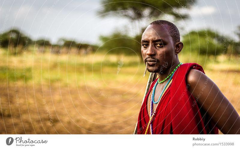 Massai III maskulin Junger Mann Jugendliche Erwachsene 1 Mensch 18-30 Jahre authentisch außergewöhnlich einzigartig Abenteuer Farbe Identität Kultur Tourismus
