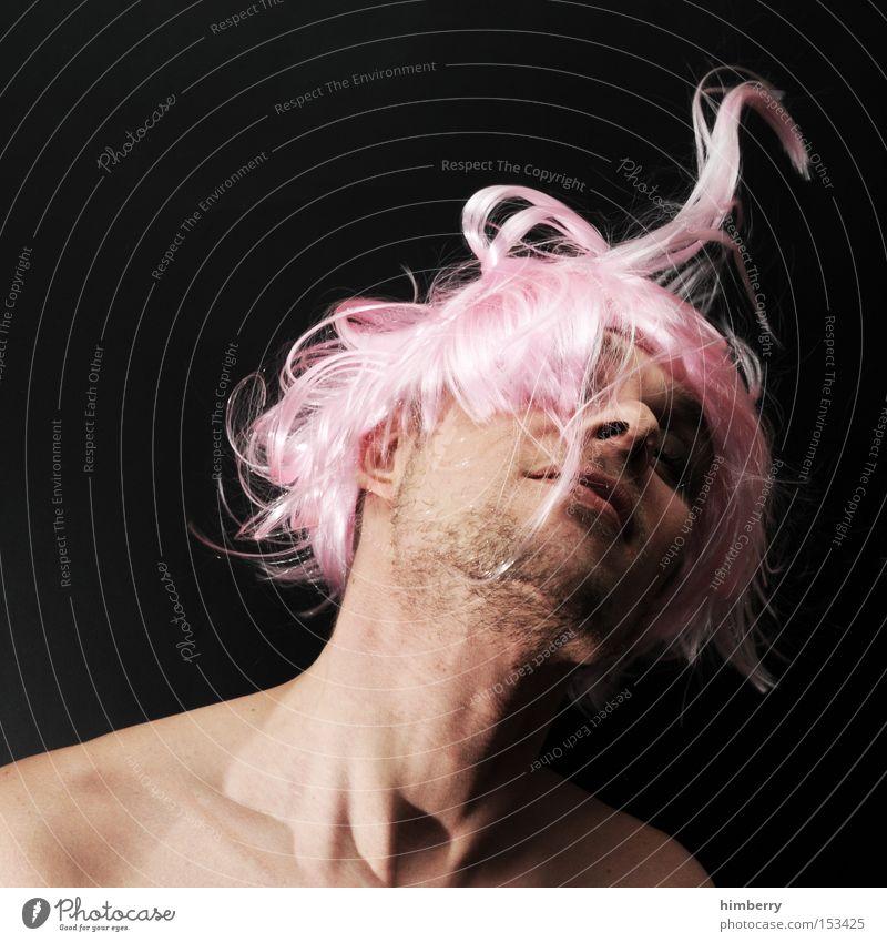 lost in sensation Mensch Mann Jugendliche Erwachsene feminin Leben Kopf Haare & Frisuren Glück Party rosa außergewöhnlich einzigartig 18-30 Jahre Karneval