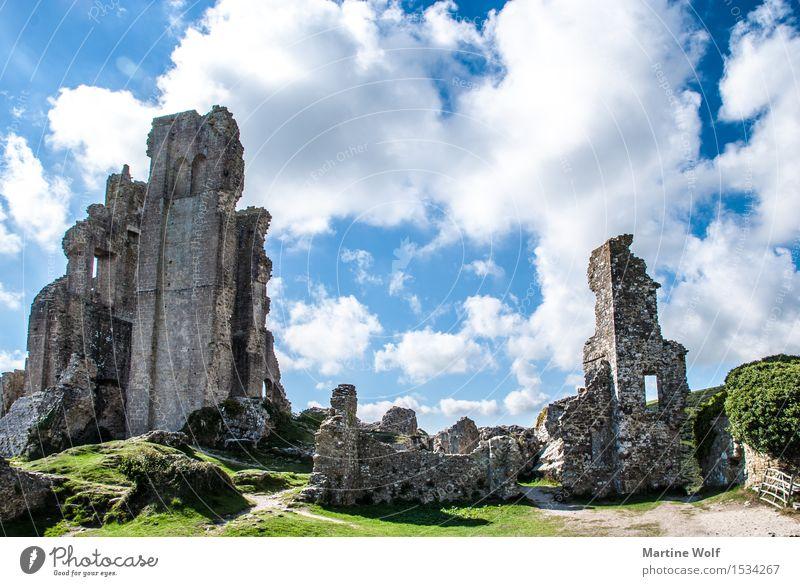 Corfe Castle Natur Ferien & Urlaub & Reisen Wolken Vergänglichkeit Sehenswürdigkeit Ruine England Großbritannien