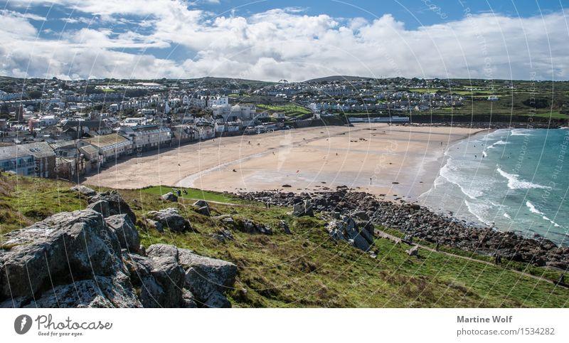 St Ives 2 Landschaft Wolken Küste Strand Meer Atlantik Dorf Fischerdorf Sehenswürdigkeit Ferien & Urlaub & Reisen Cornwall England Großbritannien St. Ives