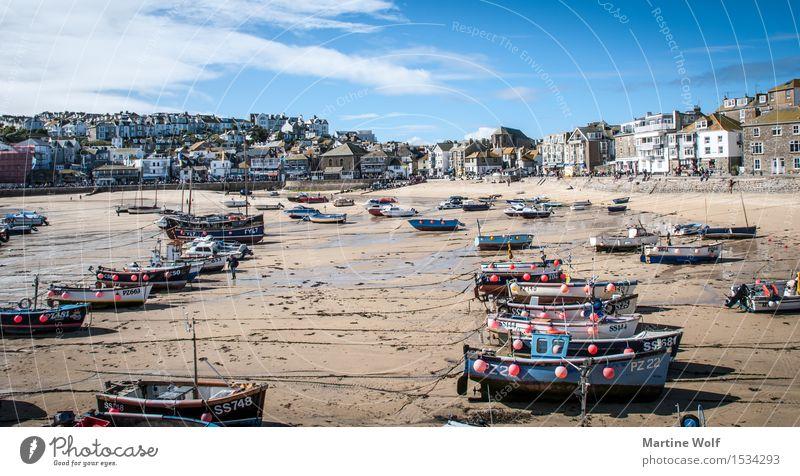 St.Ives Beach Landschaft Himmel Küste Strand Dorf Fischerdorf Hafen Fischerboot Idylle Ferien & Urlaub & Reisen Cornwall England Großbritannien St. Ives